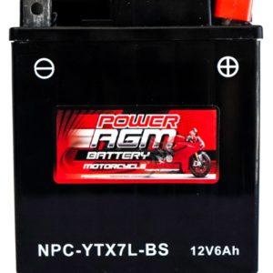 Power AGM NPC-YTX7L-BS Motorcycle Battery
