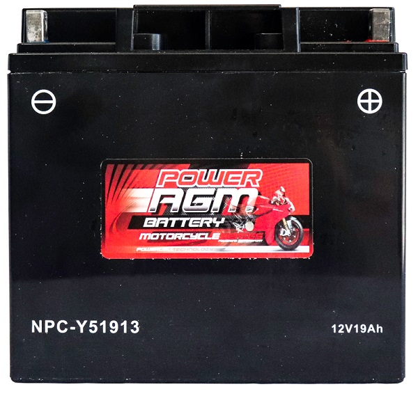 Power AGM NPC-Y51913 Motorcycle Battery front