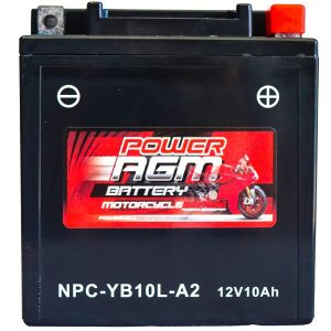 Power AGM NPC-YB10L-A2 Motorcycle Battery front