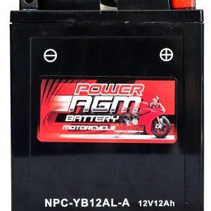 Power AGM NPC-YB12AL-A Motorcycle Battery front