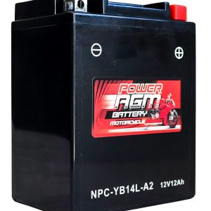 Power AGM NPC-YB14L-A2 Motorcycle Battery front and side