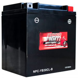 Power AGM NPC-YB30CL-B Motorcycle Battery front and side