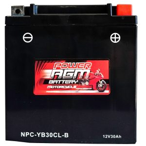 Power AGM NPC-YB30CL-B Motorcycle Battery front