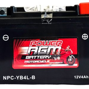 Power AGM NPC-YB4L-B Motorcycle Battery front