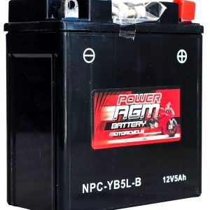Power AGM NPC-YB5L-B Motorcycle Battery front and side
