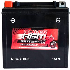 Power AGM NPC-YB9-B Motorcycle Battery front