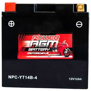 Power AGM NPC-YT14B-4 Motorcycle Battery front