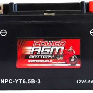 Power AGM NPC-YT6.5B-3 Motorcycle Battery front