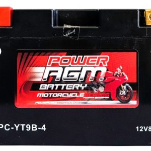 Power AGM NPC-YT9B-4 Motorcycle Battery front