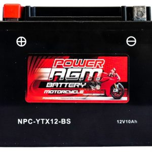 Power AGM NPC-YTX12-BS Motorcycle Battery front