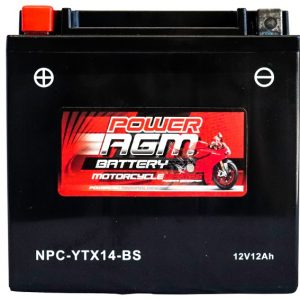 Power AGM NPC-YTX14-BS Motorcycle Battery front
