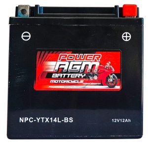 Power AGM NPC-YTX14L-BS Motorcycle Battery front