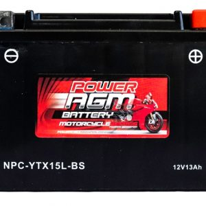 Power AGM NPC-YTX15L-BS Motorcycle Battery front