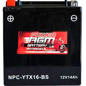 Power AGM NPC-YTX16-BS Motorcycle Battery top