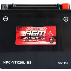 Power AGM NPC-YTX20L-BS Motorcycle Battery front