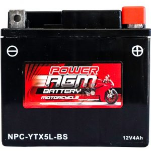 Power AGM NPC-YTX5L-BS Motorcycle Battery front