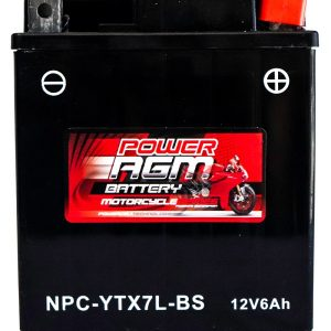 Power AGM NPC-YTX7L-BS Motorcycle Battery front