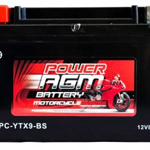Power AGM NPC-YTX9-BS Motorcycle Battery front