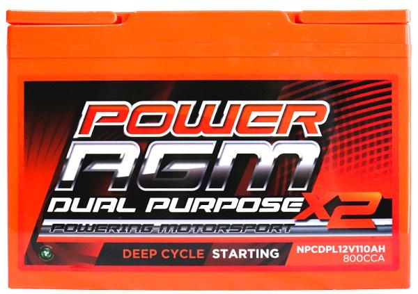 Power AGM NPCDPL12V110AH Dual Purpose Battery front