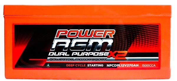 Power AGM NPCDPL12V270AH Dual Purpose Battery front